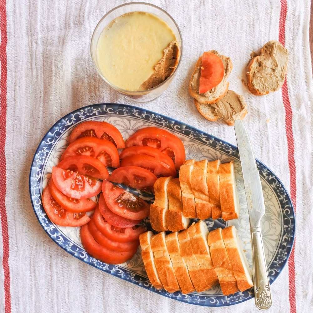 Chicken Liver Mousse with sliced tomatoes and sliced baguette