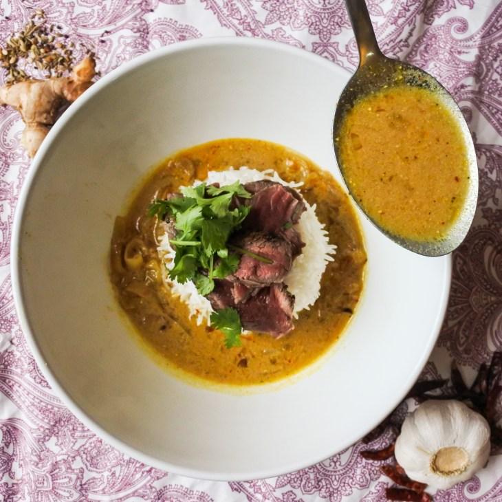 Mulligatawny with seared beef, fresh cilantro and basmati rice
