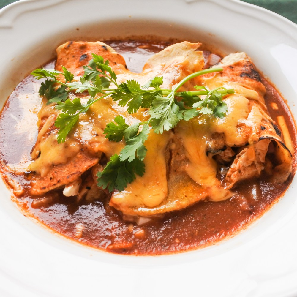 enchiladas smothered in red sauce and melted cheese with fresh cilantro in bowl