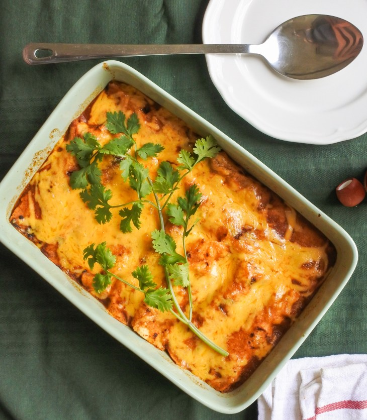 enchiladas smothered in red sauce and melted cheese with fresh cilantro