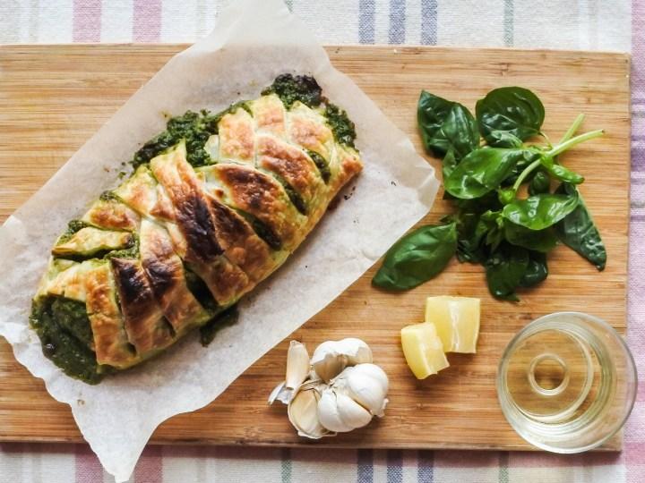 Salmon en croute, garlic, basil leaves, lemon and wine