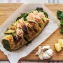 Salmon en Croute, garlic, Basil and lemon