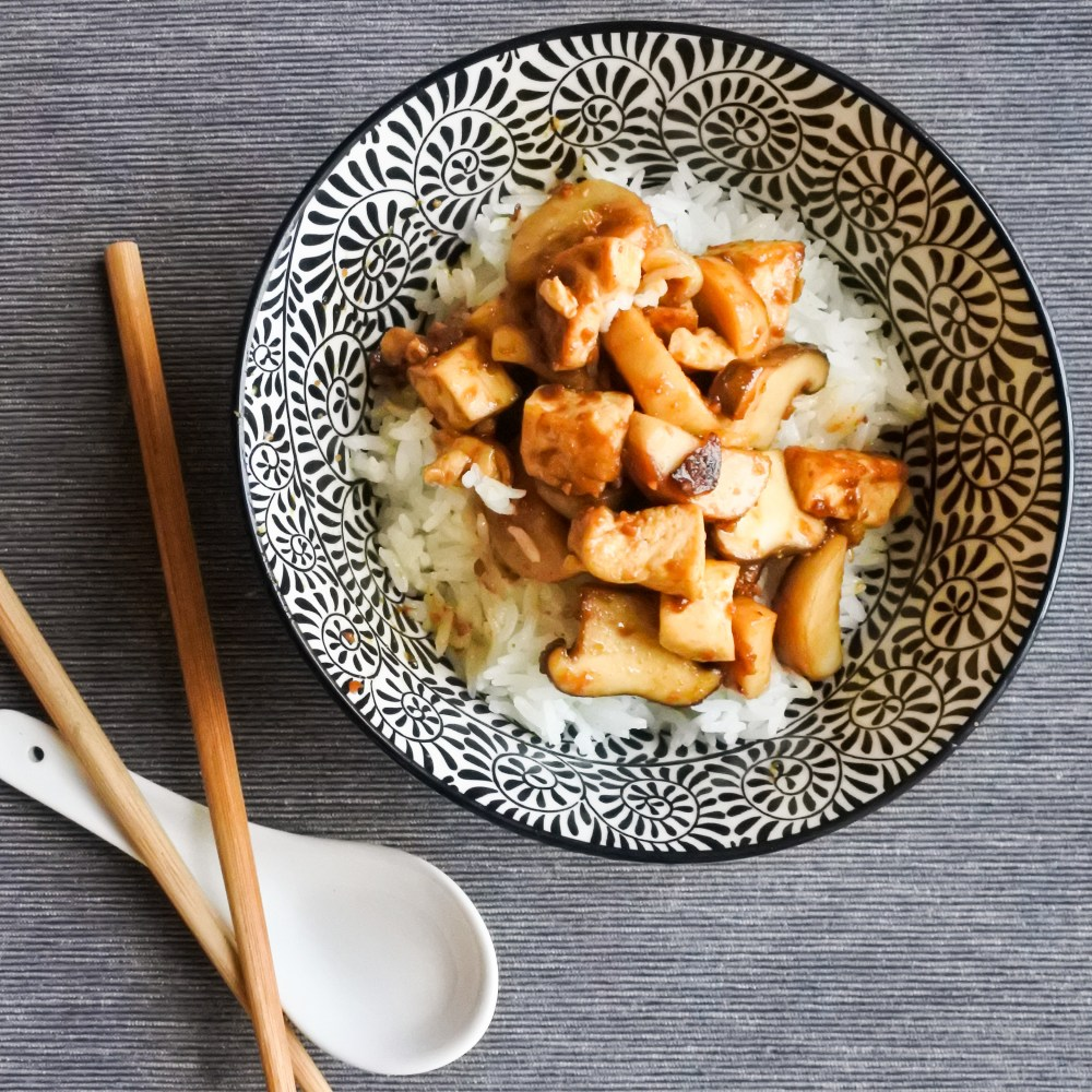 Tofu and Mushrooms in Soybean Sauce over steamed rice
