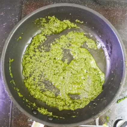 cooked cilantro and green chile sauce in pan