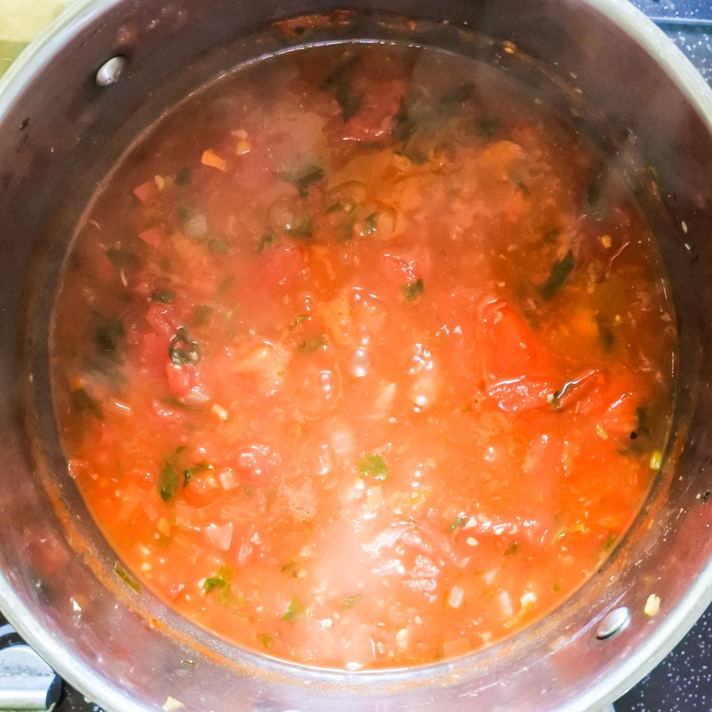 vegetables, chicken broth and tomatoes cooking in pot
