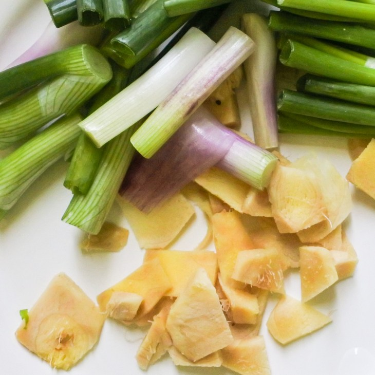 Sliced ginger and scallions