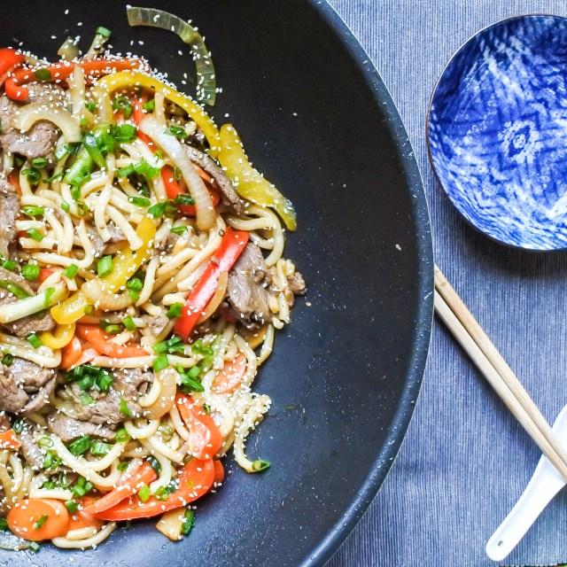 Wok Fried Beef Noodles in a wok