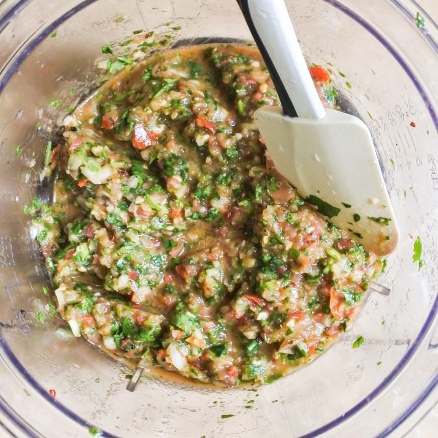 chopped salsa in food processor