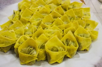 a plate full of wontons