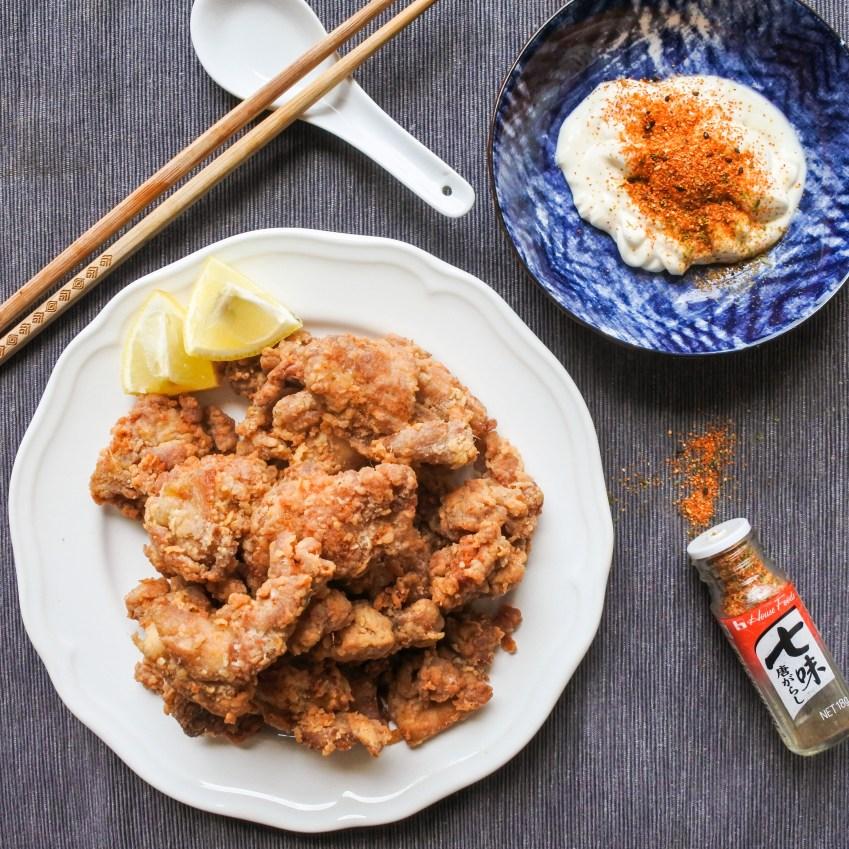 Serve with lemon wedges, mayonnaise and shichimi togarashi powder.