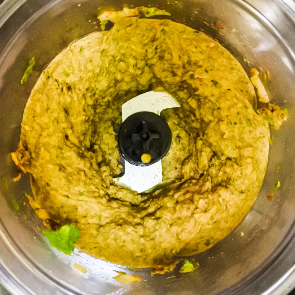 Lentil mixture pureed in a food processor