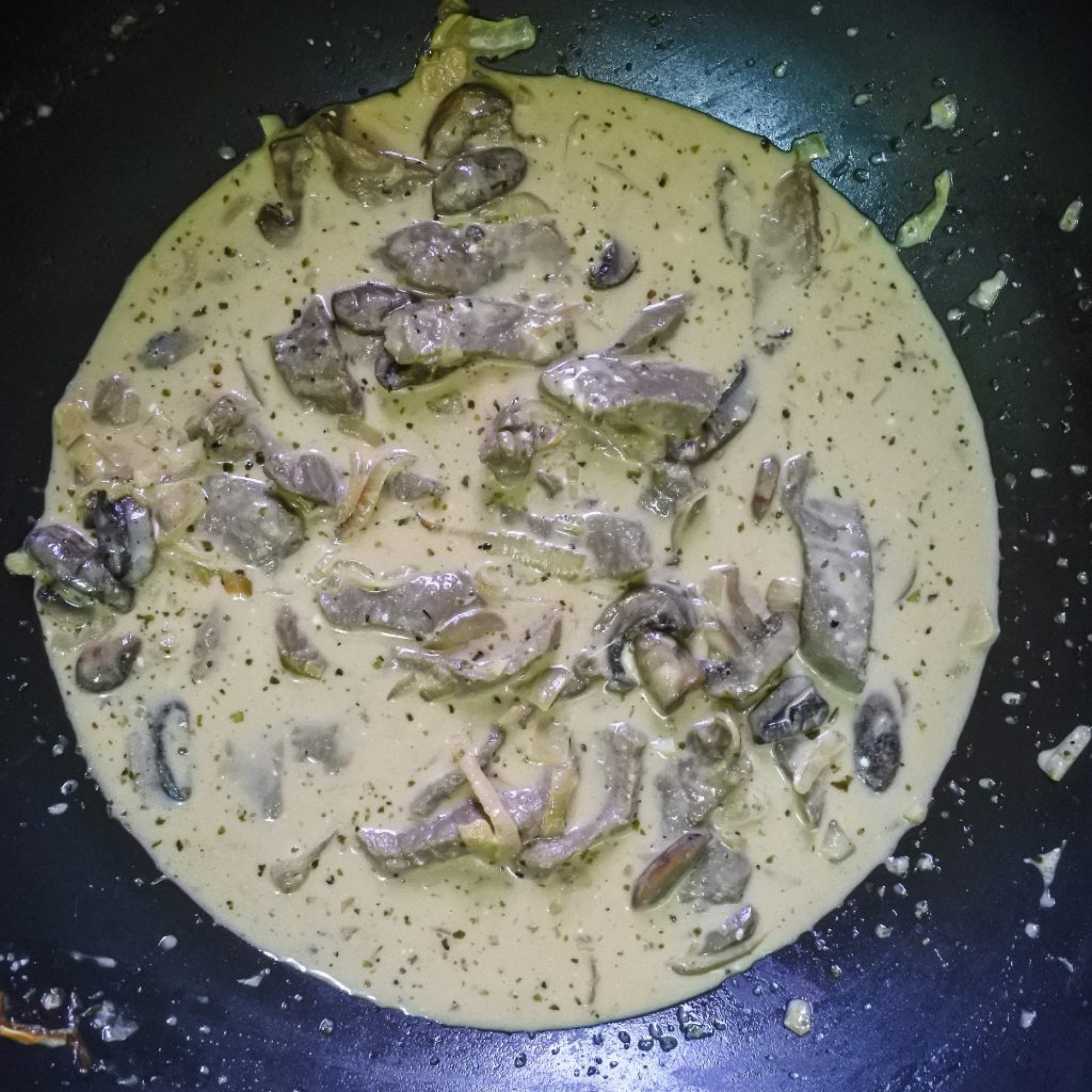 Stroganoff mixture cooking in a pan