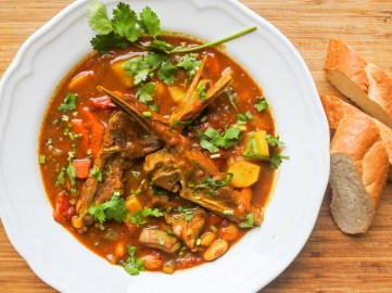 Lamb and Butter Bean Stew with bread