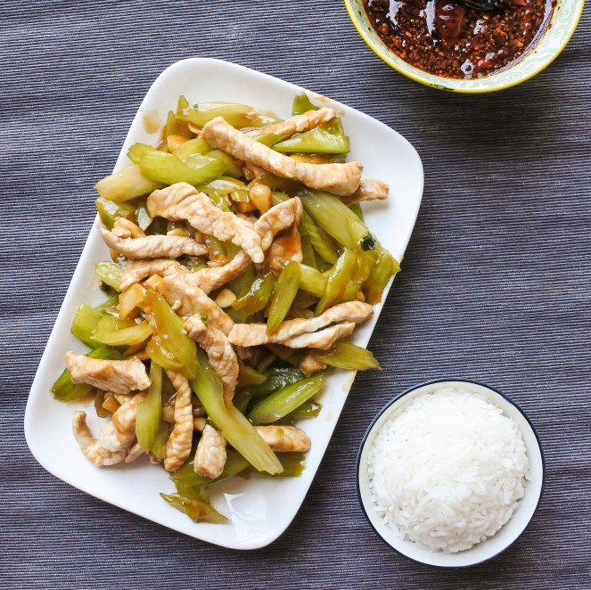 pork loin and celery stir-fry with steamed rice
