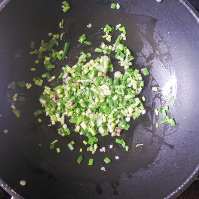In a large frying pan, add butter and cook over medium heat. When melted and hot, add chopped scallions and cook for 2-3 minutes until fragrant.