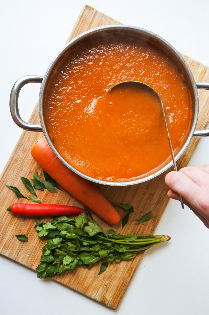 a ladle in a big bowl of base gravy next to fresh carrot, coriander and red chile