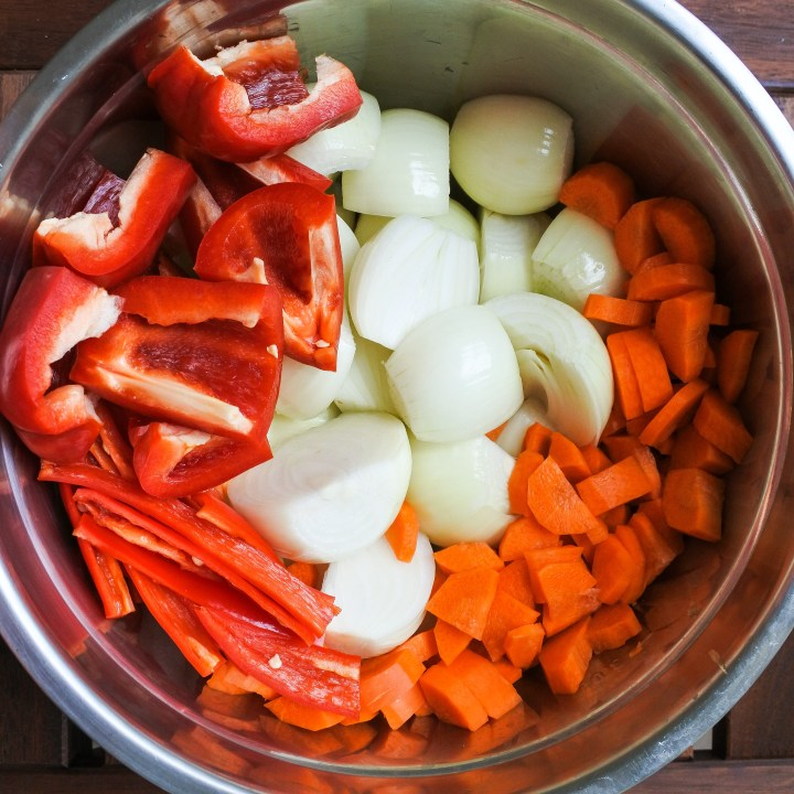 chopped vegetables in a big metal bowl