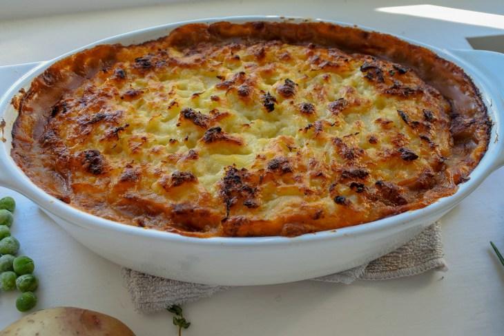 cottage pie in a casserole dish