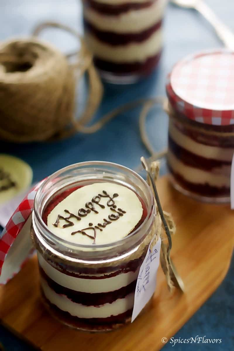 Eggless Red Velvet Cake In A Jar Diwali Special Spices