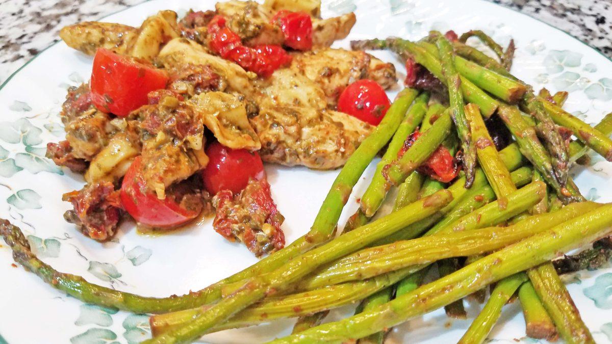 Pesto Chicken Tortellini and Asparagus