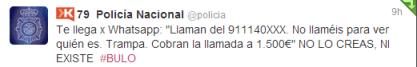 policia bulor llamada 1500 euros