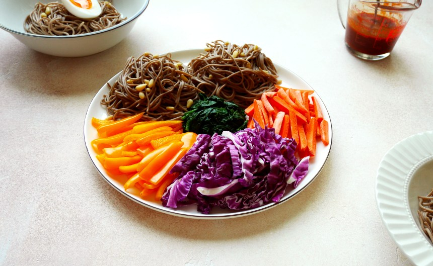 spicy korean soba salad