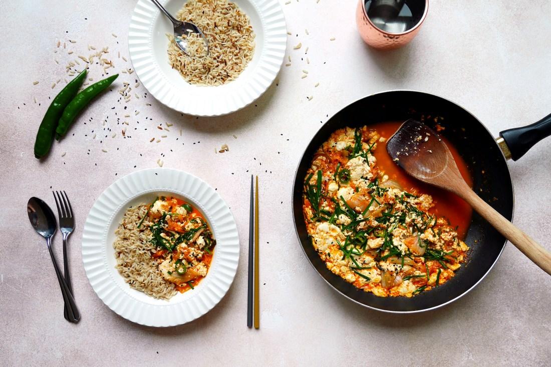 tofu kimchi scramble