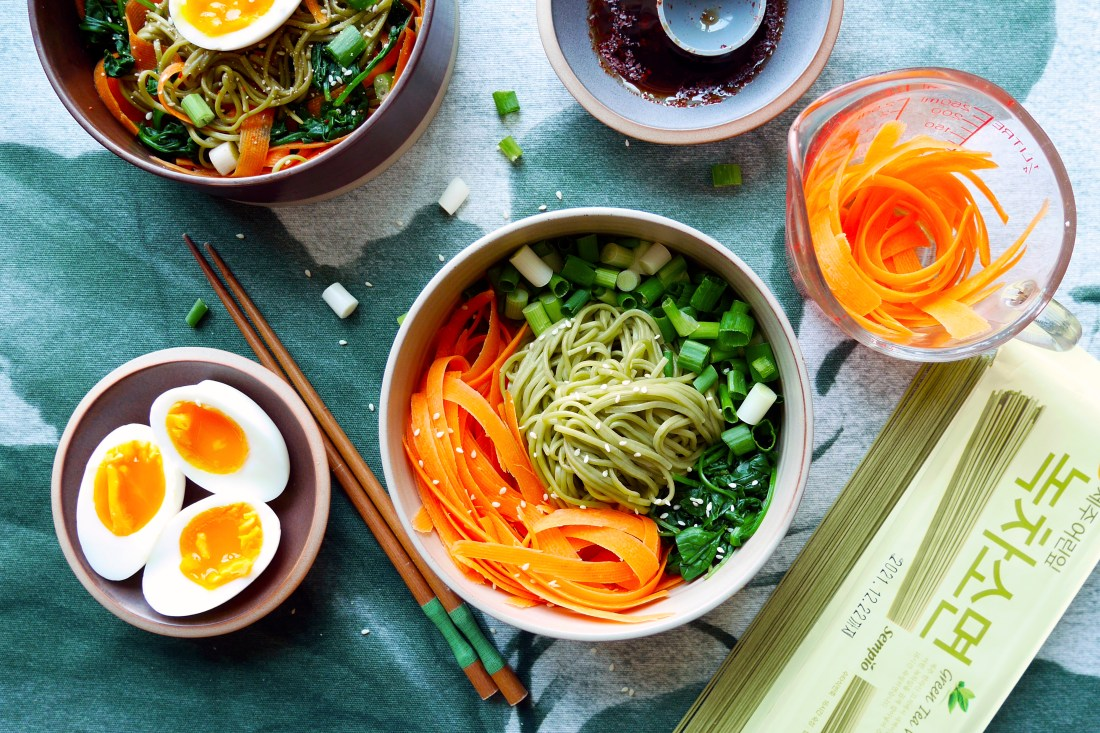 Asian healthy green noodle salad