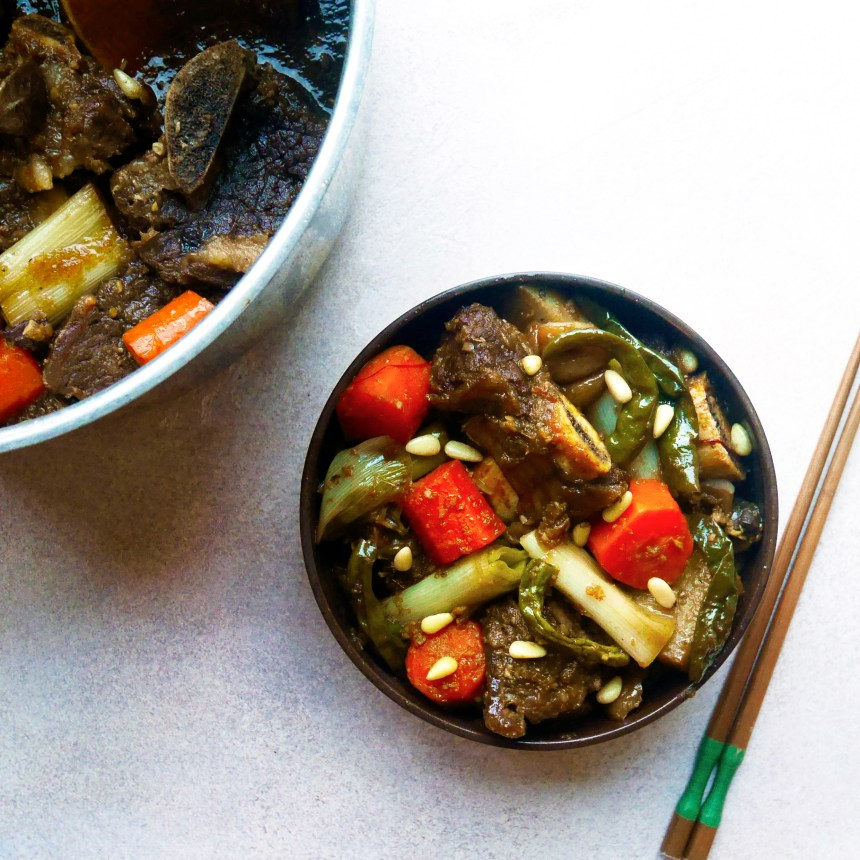 Galbijjim Korean braised beef short ribs