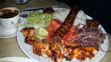 First night meal of kebab, Shish tawouk, salad and rice