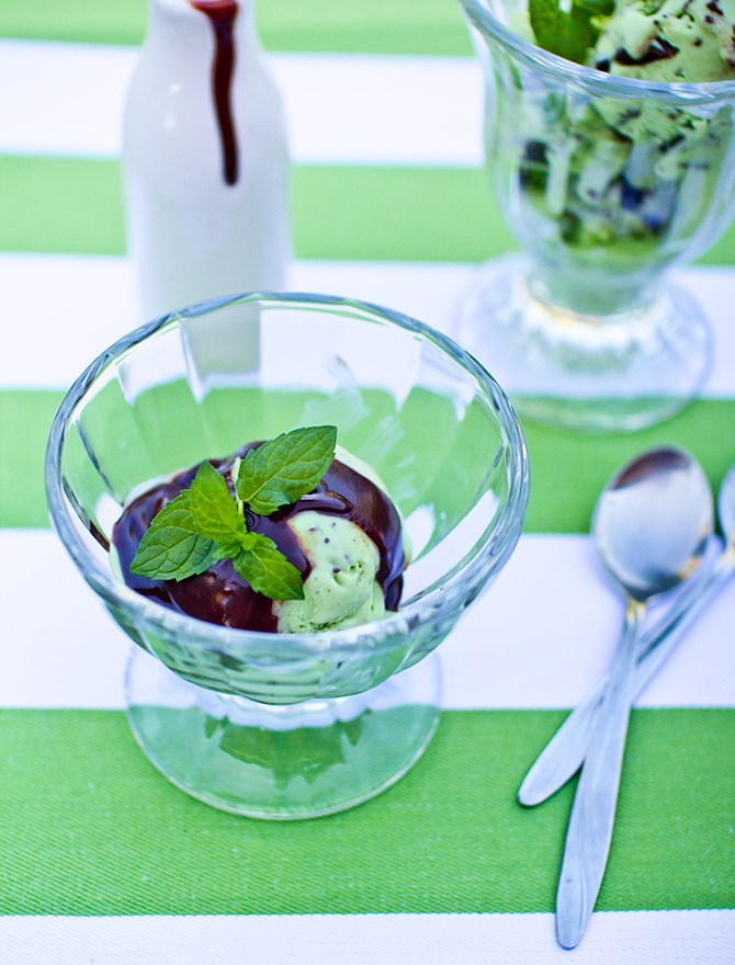 No Churn Fresh Mint Choc Chip Ice Cream