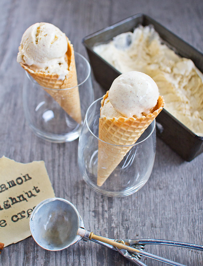 No Churn Cinnamon Doughnut Ice Cream
