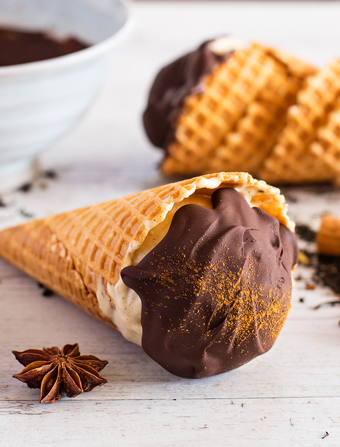 Chai Ice Cream Choc Top Recipe available only in my FREE No Churn Ice Cream Ebook!