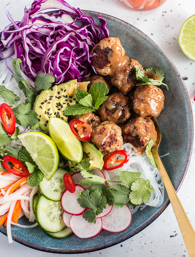 Pork Meatball Banh Mi Salad Bowl