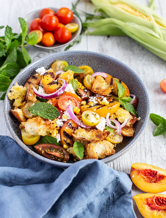 Grilled Peach, Corn and Tomato Panzanella Salad