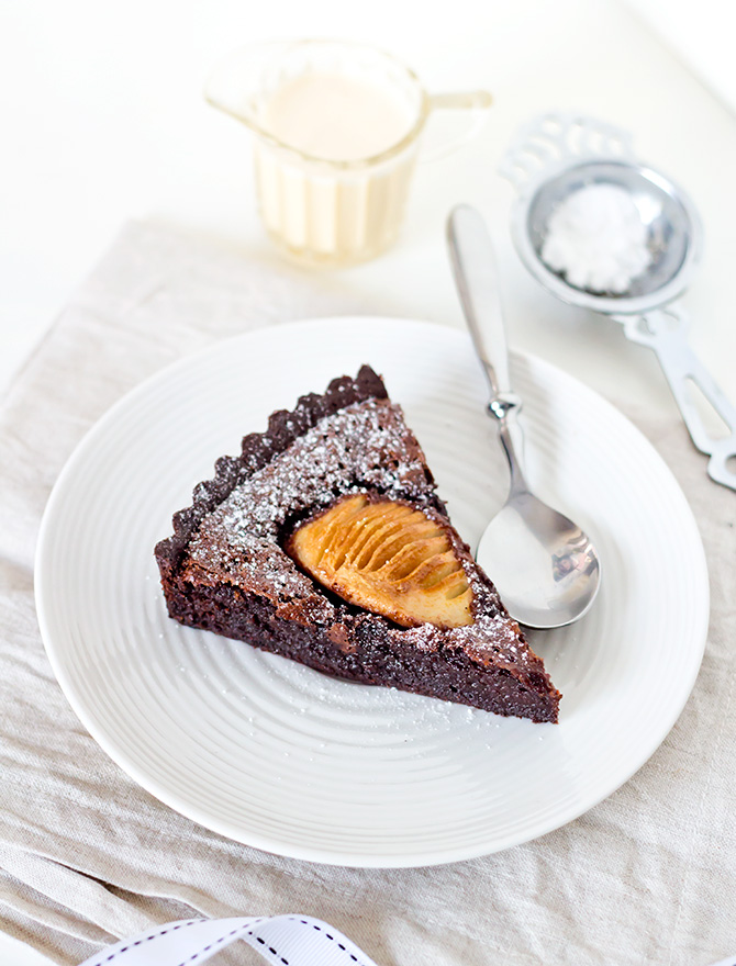 Chocolate and Pear Tart with Cardamom Creme Anglaise