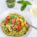 Creamy Chicken Pesto with Roasted Cherry Tomatoes