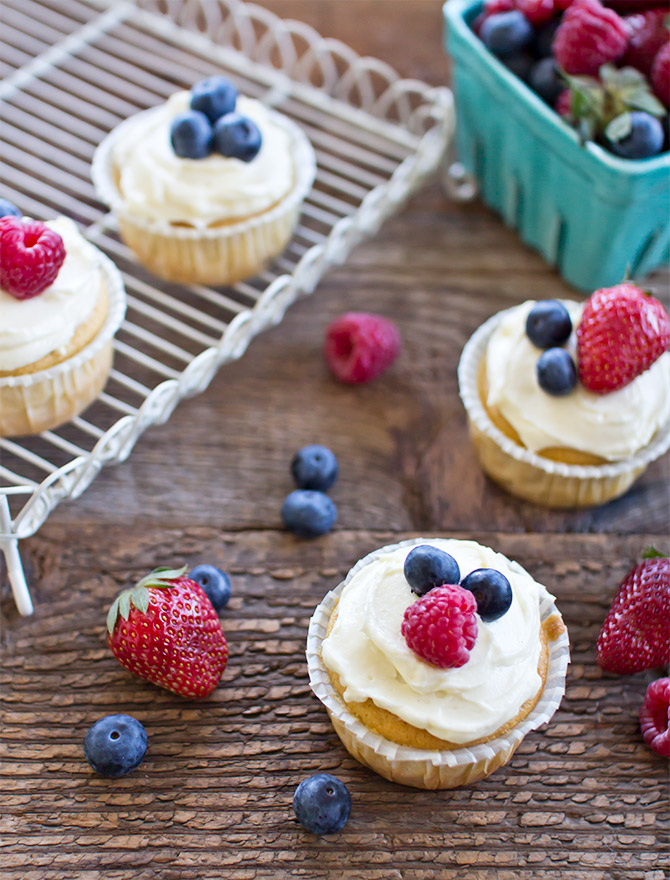 Berry Buttermilk Cupcakes with Cream Cheese Icing