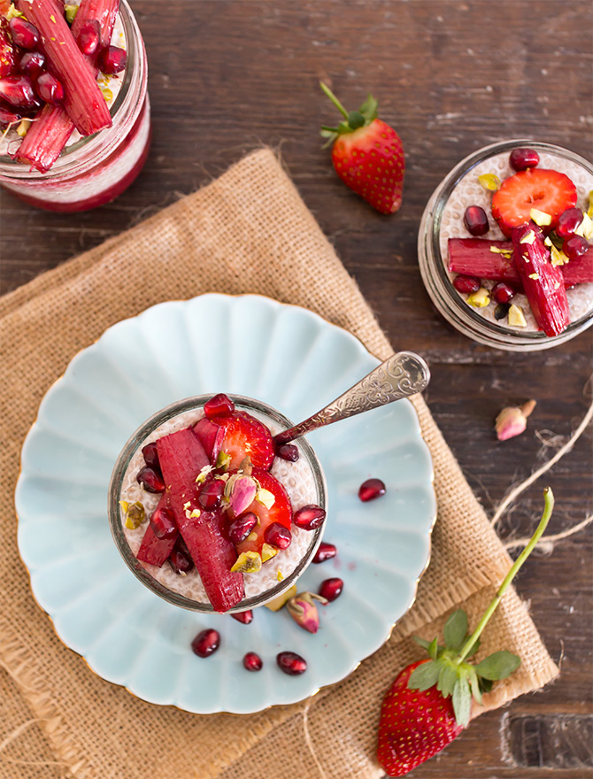 Chia Pudding with Honey Stewed Rhubarb