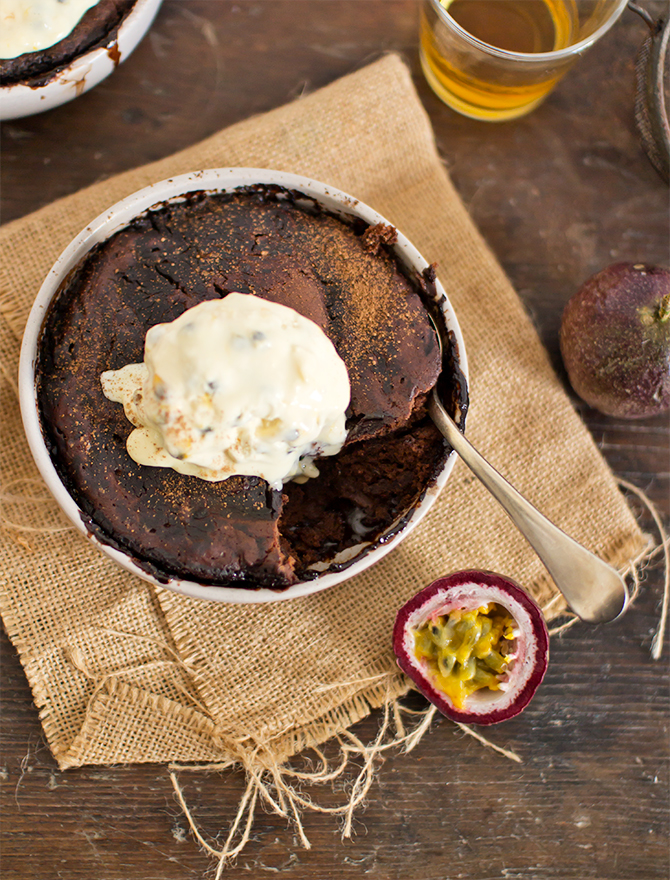 Chocolate Whisky Pudding with Passionfruit Ice Cream