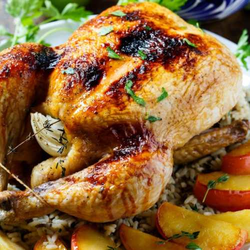 Thanksgiving Entrees Roasted Apple Cider Glazed Chicken Stuffing