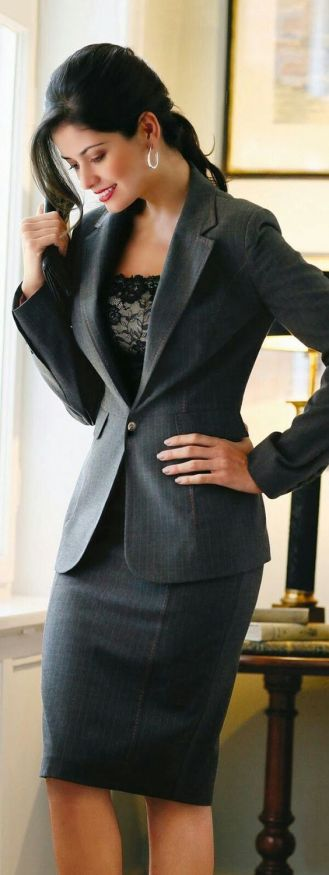 Business professional outfits are crisp and clean-- wear a blazer with a pencil skirt and you're good to go.