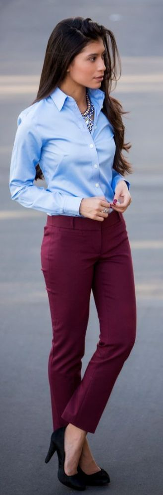 It doesn't have to be all black! A button up top paired with colored pants are another great business casual option for creative industries.