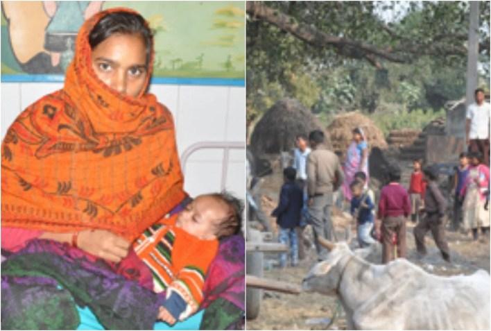 कुपोषित बच्चा मुन्ना अपनी मां पूनम देवी की गोद में और पुवायां तहसील के लखनापुर गांव का माहोल।