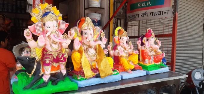 Idols of Lord Shri Ganesh kept at the shop at Nawaganj Chowk