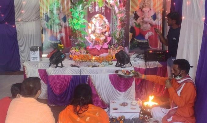 Devotees worship Lord Ganesha at Namdev Temple in Najibabad.