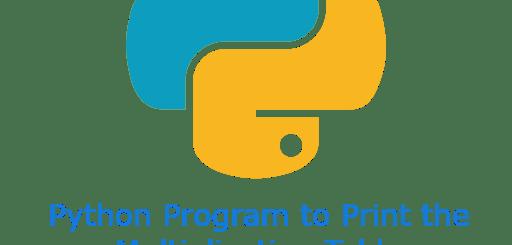 Python Program to Print the Multiplication Table
