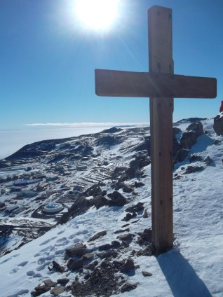 This cross memorializes the members of Scott's team who died on their way back from the South Pole.