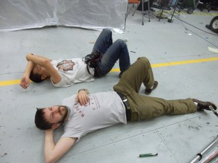 Jon and Ed take a break on the heated floor.