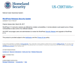 The Department of Homeland Security released an upgrade advisory via US-CERT's National Cyber Awareness System: